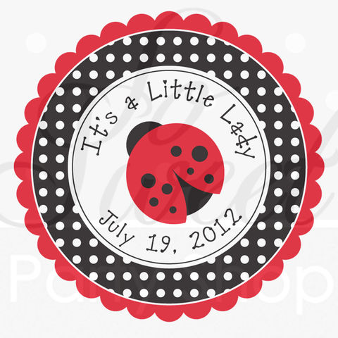 24,Party,Favor,Stickers,-,Ladybug,Baby,Shower,or,Birthday,Decorations,Personalized,favor sticker labels, party favors birthday stickers, party favor bag stickers, containers labels, envelope seals, party decor labels