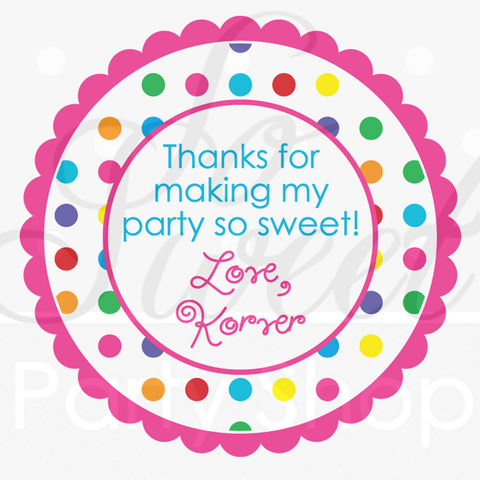 24,Personalized,Birthday,Stickers,-,Colorful,Polkadots,Party,Decorations,favor sticker labels, party favors birthday stickers, party favor bag stickers, containers labels, envelope seals, party decor labels