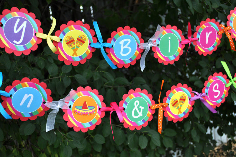 24 personalized birthday stickers fiesta 1st birthday party birthday party decorations product - Fiesta Decorations