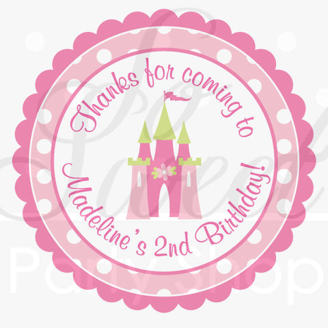 Princess,Birthday,Sticker,Labels,-,Party,Favors,,Thank,Yous,,Envelope,Seals,,Decorations,Pink,,Lime,Green,Polkadots,Set,of,24,favor sticker labels, party favors birthday stickers, party favor bag stickers, containers labels, envelope seals, party decor labels