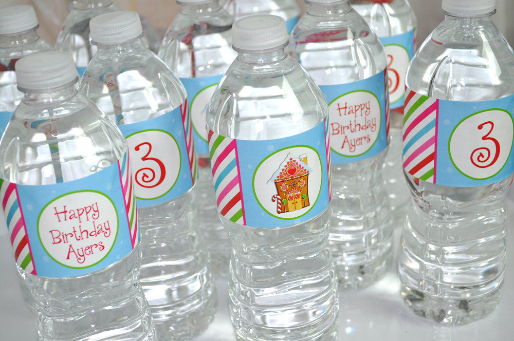 Gingerbread water bottle labels holiday winter