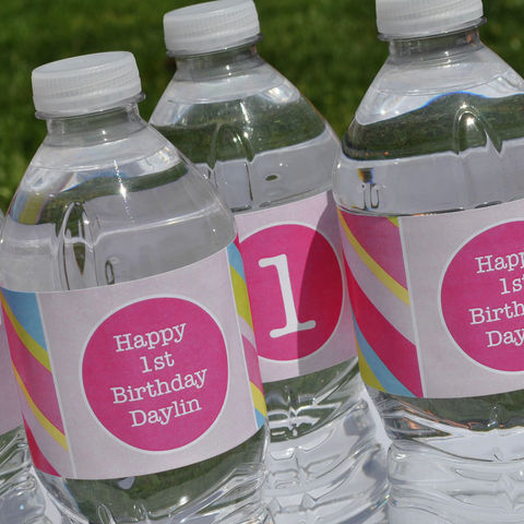 10,Personalized,Water,Bottle,Labels,-,Girls,Birthday,Banner,Pink,,Blue,,Green,and,Yellow,Stripe,party decorations, personalized banner, water bottle labels, personalized labels, beverage label