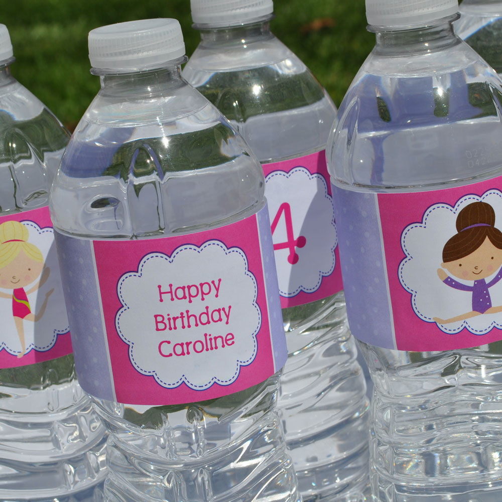 Gymnastics Birthday Party Decorations 10 Personalized Water Bottle Labels Gymnastics Tumbling