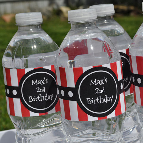 10,Personalized,Water,Bottle,Labels,-,Pirate,Theme,party decorations, personalized banner, water bottle labels, personalized labels, beverage label