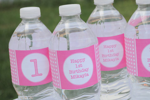 10,Water,Bottle,Labels,-,1st,Birthday,Polkadots,Pink,and,White,Personalized,party decorations, personalized banner, water bottle labels, personalized labels, beverage label