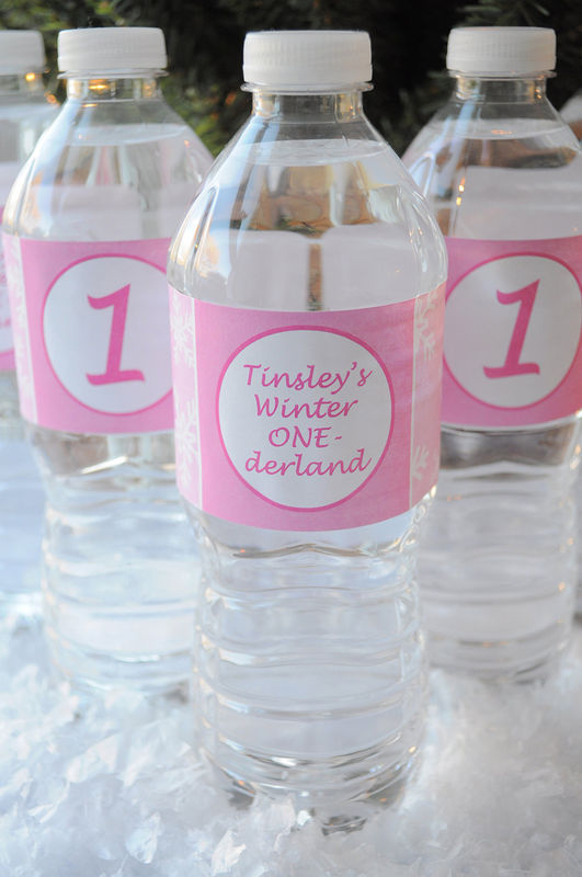 10 Water Bottle Labels - 1st Birthday - Snowflake, Winter One-derland - product images  of