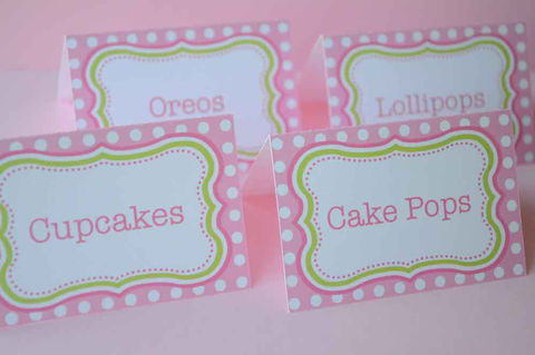 12,Birthday,Party,Food,Labels,Tent,Cards,or,Placecards,-,Polkadots,Pink,and,Green,Personalized,Party Food Labels, Tent Cards, Placecards, Personalized