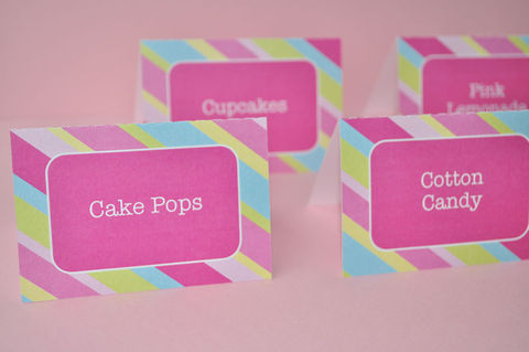 12,Food,Label,Tent,Cards,-,Girls,Birthday,Party,,Baby,Shower,,Briday,Shower,Pink,,Blue,,Green,and,Yellow,Stripe,Party Food Labels, Tent Cards, Placecards, Personalized