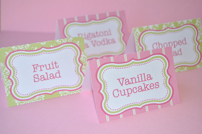 12 Food Label Tent Cards or Place Cards - Girls Baby Shower or ...