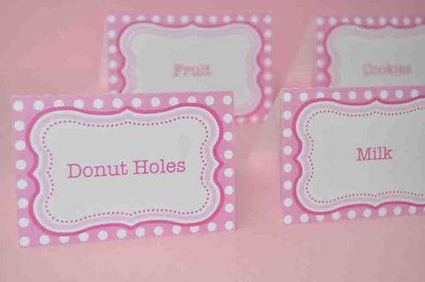 12,Food,Label,Tent,Cards,or,Place,-,Girls,Birthday,Party,Baby,Shower,Pink,and,White,Polkadot,Party Food Labels, Tent Cards, Placecards, Personalized
