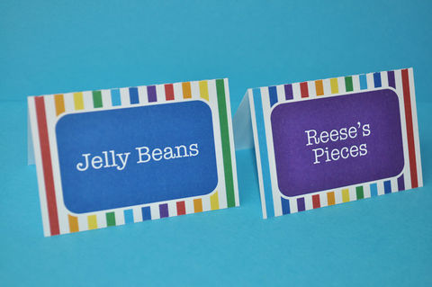12,Food,Label,Tent,Cards,or,Place,-,Rainbow,Colors,Personalized,Party Food Labels, Tent Cards, Placecards, Personalized