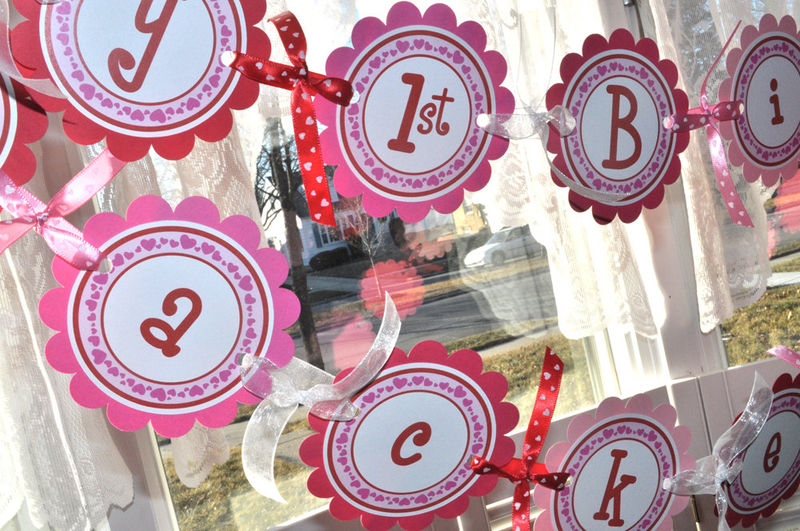 12 Girls 1st Birthday Food Label Tent Cards Valentines Day – Birthday on Valentine Day Card