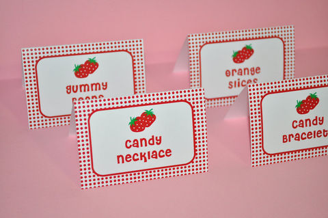12,Strawberry,Birthday,Food,Labels,-,Tent,Cards,,Placecards,Personalized,Girls,Party,Decorations,Party Food Labels, Tent Cards, Placecards, Personalized