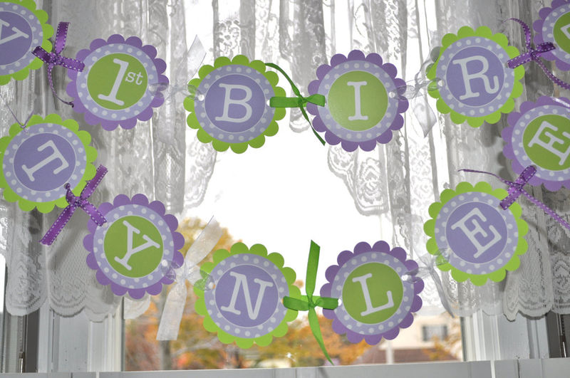 1st Birthday Banner Polkadots Lavender Purple and Lime Green