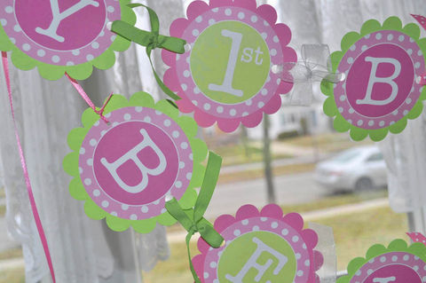 1st,Birthday,Banner,-,Polkadots,Pink,and,Lime,Green,Girls,Party,Decorations,birthday banners, decoration, baby shower banner, 1st birthday banner, happy birthday banner, party sign, personalized party, girls birthday party, birthday banner, party decorations, girls birthday ideas, party banner