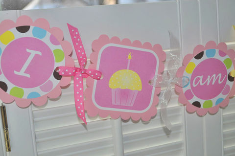 1st,Birthday,Highchair,Banner,-,I,am,1,Cupcakes,and,Polkadots,birthday banners, decoration, baby shower banner, 1st birthday banner, happy birthday banner, party sign, personalized party, girls birthday party, birthday banner, party decorations, girls birthday ideas, party banner