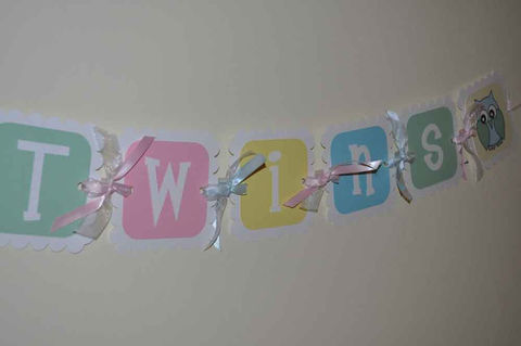 Baby shower banner boy or girl rubber ducky theme for Baby shower decoration ideas for twin girls