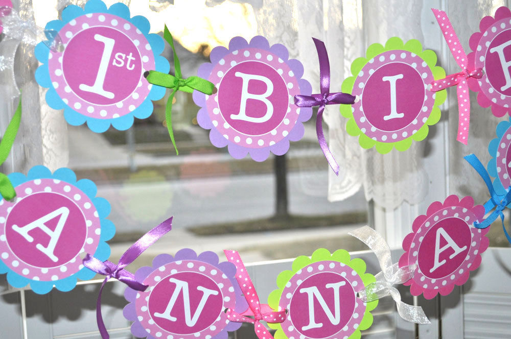 Birthday banner 1st birthday banner polkadots girls for 1st birthday girl decoration