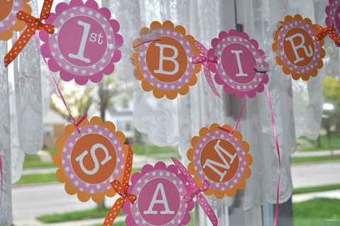 Birthday,Banner,-,Girls,1st,Party,Decorations,Orange,,Pink,and,White,Polkadots,birthday banners, decoration, baby shower banner, 1st birthday banner, happy birthday banner, party sign, personalized party, girls birthday party, birthday banner, party decorations, girls birthday ideas, party banner
