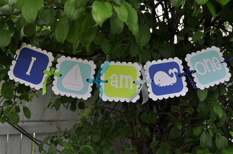 Birthday,Banner,-,I,Am,One,Nautical,,Whale,,Sailboat,birthday banners, decoration, baby shower banner, 1st birthday banner, happy birthday banner, party sign, personalized party, girls birthday party, birthday banner, party decorations, girls birthday ideas, party banner