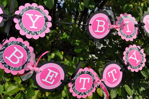 Birthday,Banner,or,Baby,Shower,-,Pink,and,Black,birthday banners, decoration, baby shower banner, 1st birthday banner, happy birthday banner, party sign, personalized party, girls birthday party, birthday banner, party decorations, girls birthday ideas, party banner