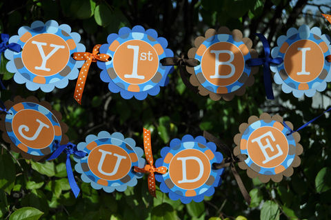 Boys,1st,Birthday,Banner,-,Blue,,Orange,and,Brown,Polkadots,Personalized,Party,Decorations,birthday banners, decoration, baby shower banner, 1st birthday banner, happy birthday banner, party sign, personalized party, girls birthday party, birthday banner, party decorations, girls birthday ideas, party banner