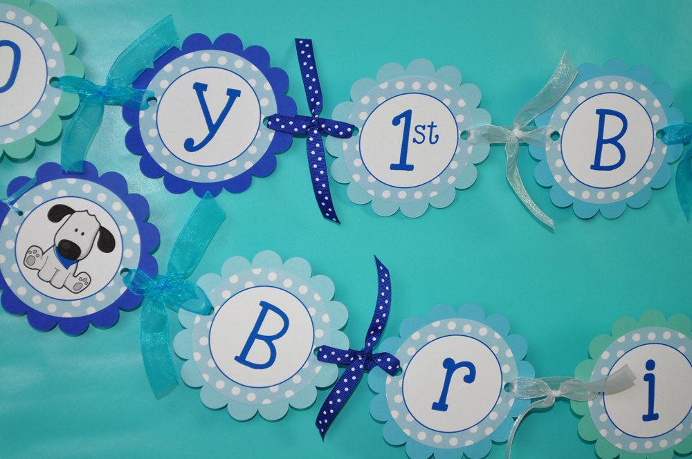 Boys 1st Birthday Banner - Puppy Dog Birthday Party Decorations- Blue ...