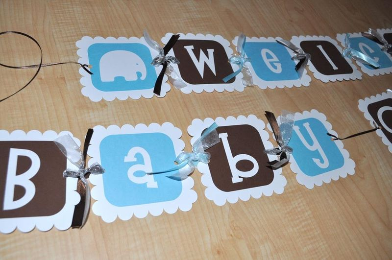 Elephant Baby Shower Banner for Boy - Personalized - So Sweet ...