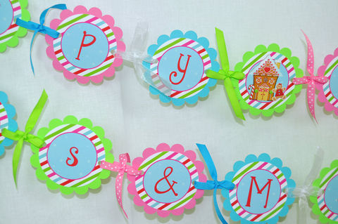 Gingerbread,Birthday,Banner,-,Winter,Party,Decorations,Christmas,Decorating,birthday banners, decoration, baby shower banner, 1st birthday banner, happy birthday banner, party sign, personalized party, girls birthday party, birthday banner, party decorations, girls birthday ideas, party banner