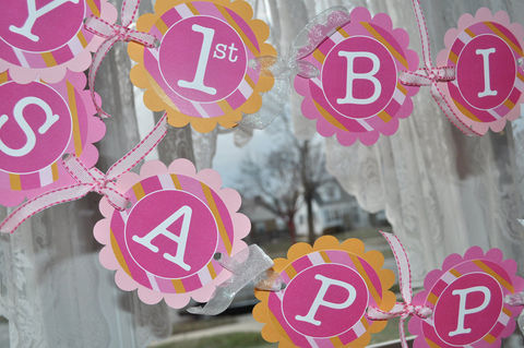 Girls,1st,Birthday,Banner,-,Pink,and,Orange,Stripe,birthday banners, decoration, baby shower banner, 1st birthday banner, happy birthday banner, party sign, personalized party, girls birthday party, birthday banner, party decorations, girls birthday ideas, party banner