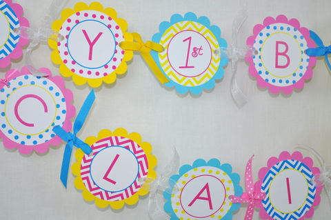 Girls,Birthday,Banner,-,Chevron,Decorations,with,Polkadots,Teal,,Pink,,Yellow,birthday banners, decoration, baby shower banner, 1st birthday banner, happy birthday banner, party sign, personalized party, girls birthday party, birthday banner, party decorations, girls birthday ideas, party banner
