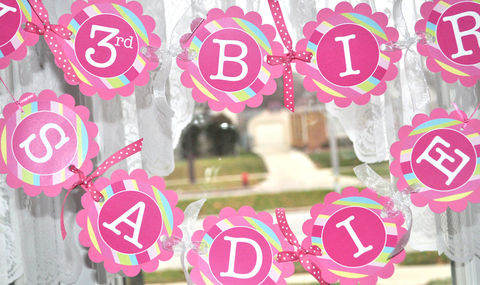 Girls,Birthday,Banner,-,Pink,,Blue,,Green,and,Yellow,Stripe,birthday banners, decoration, baby shower banner, 1st birthday banner, happy birthday banner, party sign, personalized party, girls birthday party, birthday banner, party decorations, girls birthday ideas, party banner