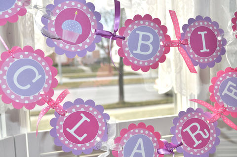 Girl's,Birthday,Banner,-,Polkadots,Pink,,Lavender,with,Cupcakes,birthday banners, decoration, baby shower banner, 1st birthday banner, happy birthday banner, party sign, personalized party, girls birthday party, birthday banner, party decorations, girls birthday ideas, party banner