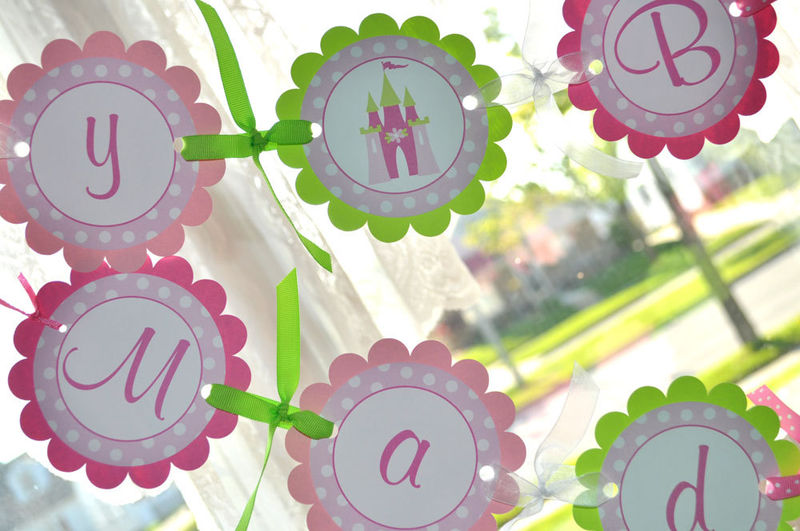 Princess Birthday Banner - Girls Princess Birthday Party ...