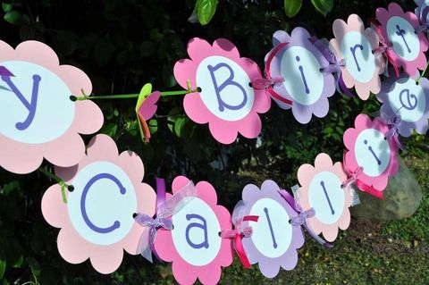 Girls,Happy,Birthday,Banner,-,Flowers,and,Butterflies,Personalized,birthday banners, decoration, baby shower banner, 1st birthday banner, happy birthday banner, party sign, personalized party, girls birthday party, birthday banner, party decorations, girls birthday ideas, party banner