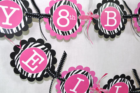 Girl's,Zebra,Stripe,Birthday,Banner,-,1st,Birthday,,2nd,Pink,,Black,and,White,Party,Decorations,birthday banners, decoration, baby shower banner, 1st birthday banner, happy birthday banner, party sign, personalized party, girls birthday party, birthday banner, party decorations, girls birthday ideas, party banner