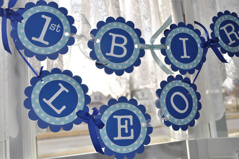 Happy,1st,Birthday,Banner,-,Boys,Personalized,Party,Decorations,Blue,and,White,Polkadots,birthday banners, decoration, baby shower banner, 1st birthday banner, happy birthday banner, party sign, personalized party, girls birthday party, birthday banner, party decorations, girls birthday ideas, party banner