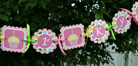 Happy,1st,Birthday,Banner,Personalized,-,Cupcakes,and,Polkadots,birthday banners, decoration, baby shower banner, 1st birthday banner, happy birthday banner, party sign, personalized party, girls birthday party, birthday banner, party decorations, girls birthday ideas, party banner