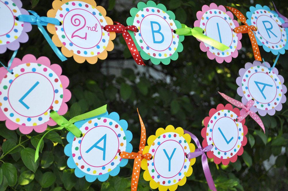 Happy Birthday Banner 1st Birthday Banner Colorful Polkadots
