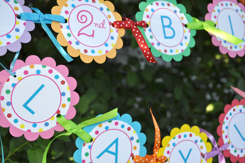 Happy Birthday Banner - 1st Birthday Banner - Colorful Polkadots - Birthday Party Decorations - product images  of