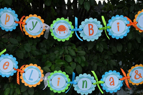 Happy,Birthday,Banner,with,Personalized,Name,-,Under,The,Sea,birthday banners, decoration, baby shower banner, 1st birthday banner, happy birthday banner, party sign, personalized party, girls birthday party, birthday banner, party decorations, girls birthday ideas, party banner