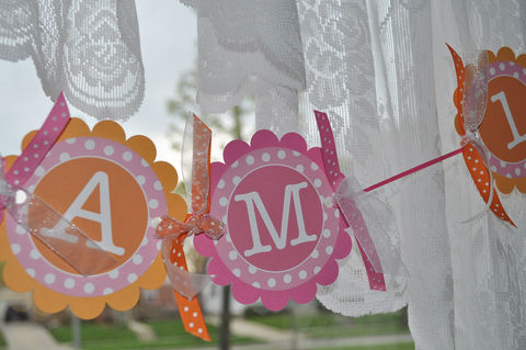 Highchair,Banner,-,1st,Birthday,Polkadots,Orange,,Pink,and,White,birthday banners, decoration, baby shower banner, 1st birthday banner, happy birthday banner, party sign, personalized party, girls birthday party, birthday banner, party decorations, girls birthday ideas, party banner