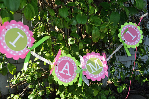 Highchair,Banner,-,1st,Birthday,Polkadots,Pink,and,Lime,Green,birthday banners, decoration, baby shower banner, 1st birthday banner, happy birthday banner, party sign, personalized party, girls birthday party, birthday banner, party decorations, girls birthday ideas, party banner