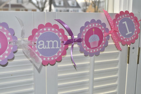 Highchair,Banner,-,1st,Birthday,Polkadots,Pink,,Purple,with,Cupcakes,birthday banners, decoration, baby shower banner, 1st birthday banner, happy birthday banner, party sign, personalized party, girls birthday party, birthday banner, party decorations, girls birthday ideas, party banner