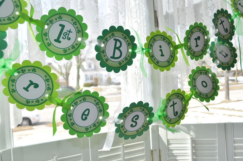 St. Patrick's Day Birthday Banner - St. Patrick's Day Decorations - Shamrocks, Clovers, Green - product images  of