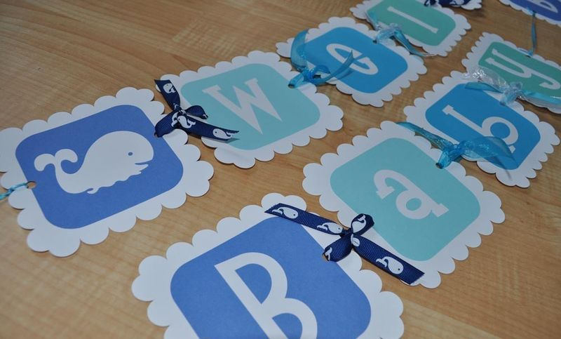 Whale Baby Shower Banner for Boy - Personalized - product images  of