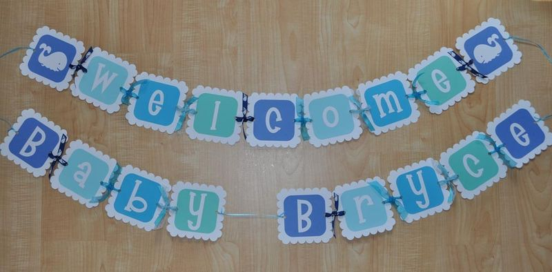 Whale Baby Shower Banner for Boy - Personalized - So Sweet Party Shop