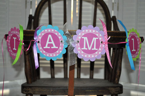 Highchair,Banner,-,1st,Birthday,Polkadots,Pink,,Lime,Green,,Teal,and,Purple,birthday banners, decoration, baby shower banner, 1st birthday banner, happy birthday banner, party sign, personalized party, girls birthday party, birthday banner, party decorations, girls birthday ideas, party banner