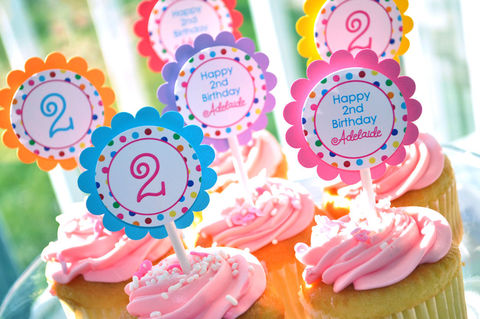 12,Birthday,Cupcake,Toppers,-,1st,,2nd,,3rd,Colorful,Polkadots,Party,Decorations,cupcake toppers, party decorations, cake decorations, 1st birthday cupcake toppers, personalized cupcake toppers