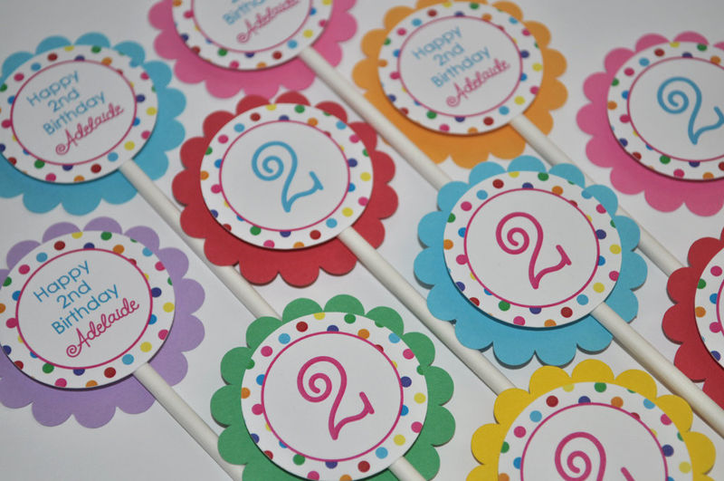 12 Birthday Cupcake Toppers - 1st, 2nd, 3rd Birthday - Colorful Polkadots - Birthday Party Decorations - product images  of